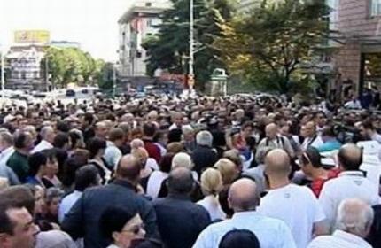 تجمع مردم تفلیس در حمایت از مسلمانان گرجستان