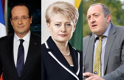 روسای جمهور گرجستان، لیتوانی و فرانسه (راست به چپ)