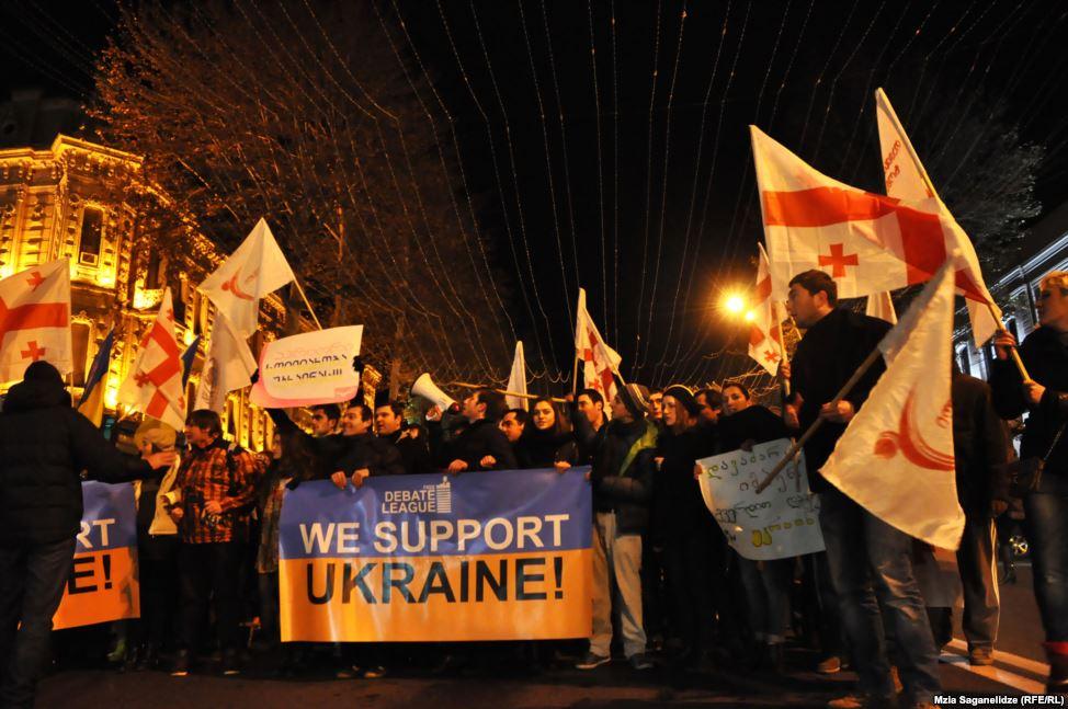 حمایت مردم گرجستان از پیوستن اوکراین به اتحادیه اروپا