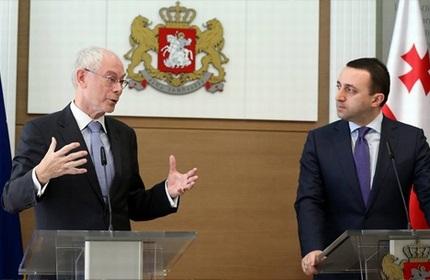 نخست وزیر گرجستان (راست) و رئیس شورای اروپا (چپ)