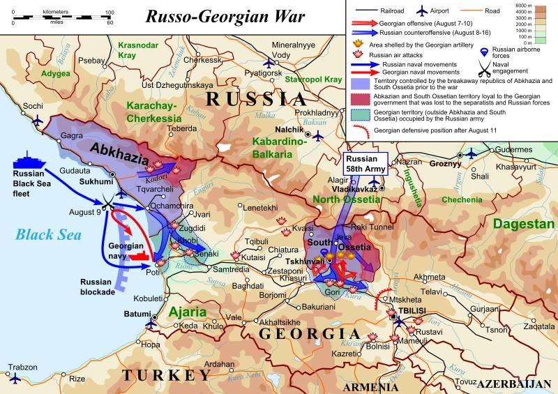 موقعیت جنگ گرجستان و روسیه بر سر اوستیای جنوبی و آبخازیا در سال 2008
