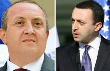ایراکلی قریباشویلی، نخست وزیر (راست) و گیورگی مارگولاشویلی، رییس جمهور گرجستان (چپ)