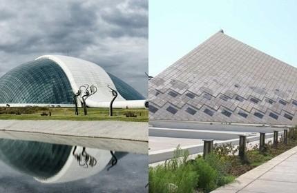 ساختمان مجلس ایران (راست) و پارلمان گرجستان (چپ)