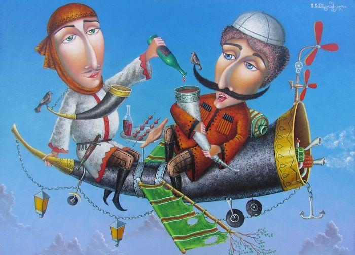 تابلوی شراب گرجستان، اثر زوراب مارتیاشویلی