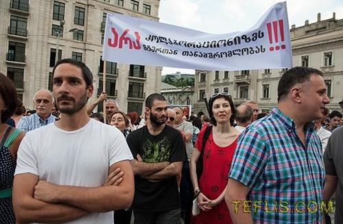 برپایی تجمعات اعتراضی علیه روسیه در گرجستان