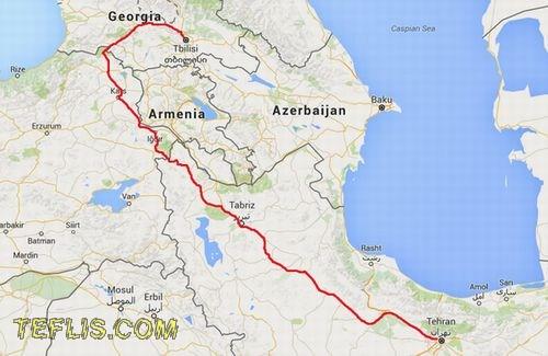 نقشه مسیر زمینی تهران به تفلیس