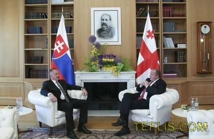 دیدار روسای جمهور گرجستان (راست) و اسلواکی (چپ)
